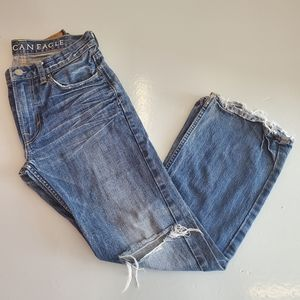 AMERICAN EAGLE | Low Rise Boot Cut Ripped Jeans